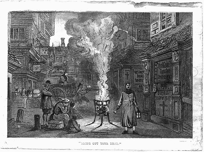 A_street_during_the_plague_in_London_with_a_death_cart_and_m_Wellcome_L0004063