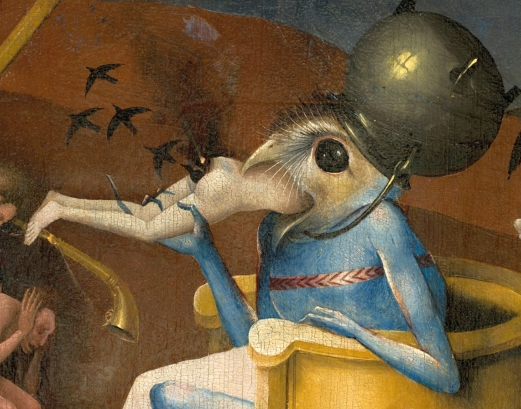 Bosch,_Hieronymus_-_The_Garden_of_Earthly_Delights,_right_panel_-_Detail_Bird-headed_monster_or_The_Prince_of_Hell_-_close-up_head_(lower_right)